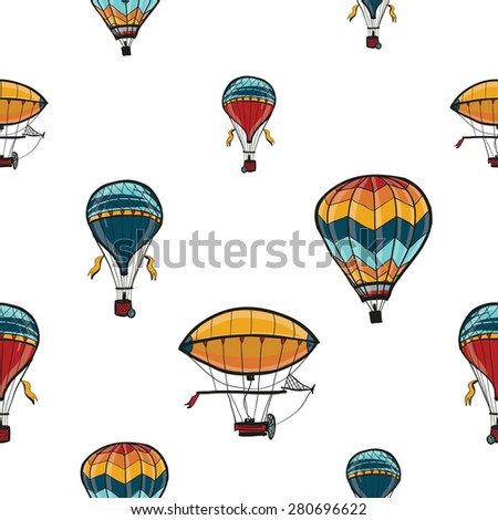 Funny cute hand drawn kids toy aeronautic transport. Baby bright cartoon aerostat, balloon, blimp vector seamless pattern on white background. Set of isolated elements. Chess grid order - stock vector