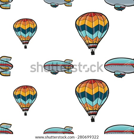 Funny cute hand drawn kids toy aeronautic transport. Baby bright cartoon balloon and airship vector seamless pattern on white background. Set of isolated elements. Chess grid order - stock vector