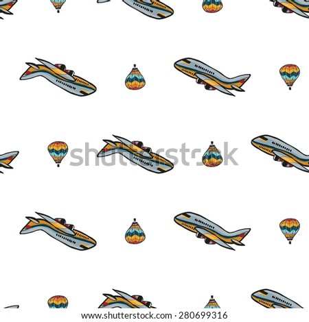 Funny cute hand drawn kids toy aeronautic transport. Baby bright cartoon balloon and plane vector seamless pattern on white background. Set of isolated elements. Chess grid order - stock vector