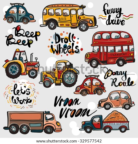 Funny cute hand drawn kids toy transport and slogans. Baby bright cartoon tractor, bus, truck, car vector seamless pattern on light background. Set of isolated elements - stock vector