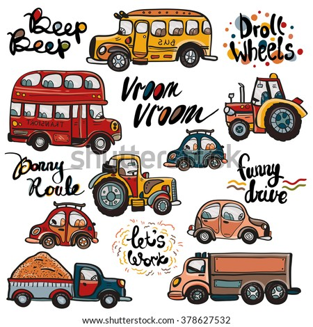 Funny cute hand drawn kids toy transport. Baby bright cartoon tractor, bus, truck, car, droll wheels, route, funny drive, vroom vroom, beep beep vector on white background. Set of isolated elements - stock vector