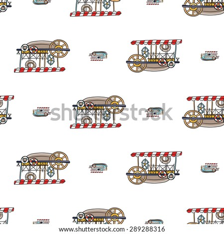 Funny cute hand drawn kids toy water transport for nursery decoration. Baby bright cartoon water-tram and water-bus vector seamless pattern on white background. Set of isolated elements