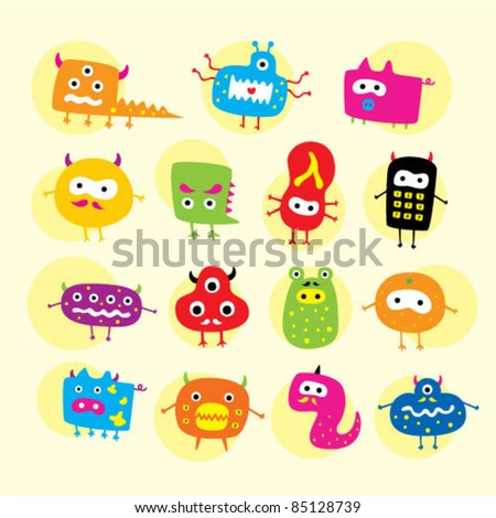 funny cute monster - stock vector