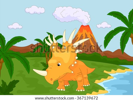 Funny cute styracosaurus on the background of a prehistoric nature. Vector illustration - stock vector