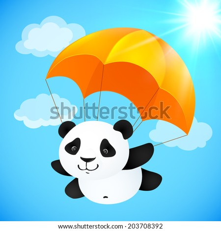 Funny cute vector panda flying with orange parachute - stock vector