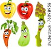 Funny cute vegetables - peppers, asparagus, carrots, zucchini - stock vector