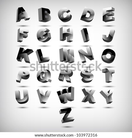 Funny 3d alphabet, vector illustration, eps10, 2 layers - stock vector