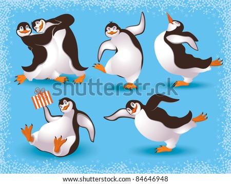 Funny dancing penguins - stock vector