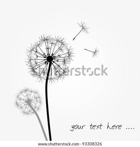 funny dandelion background as gift card - stock vector