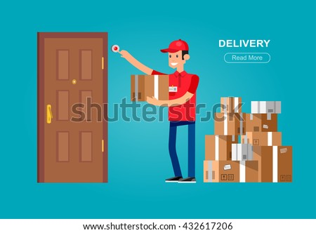 Funny Delivery character man. Delivery fast to the door and by courier flat set - stock vector