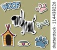 Funny Dog and accessory sticker set - stock vector