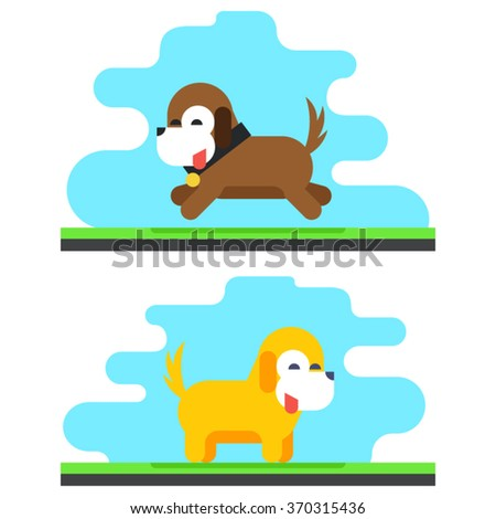 Funny Dog Bird Sky Background Concept Design Vector Illustration - stock vector