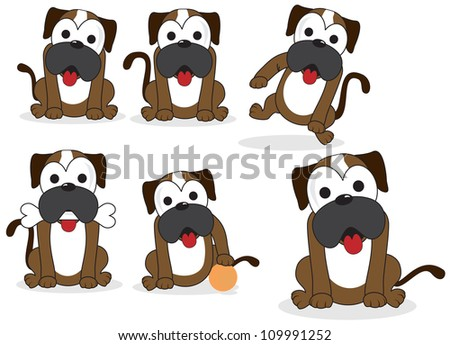 funny dog is fat - stock vector