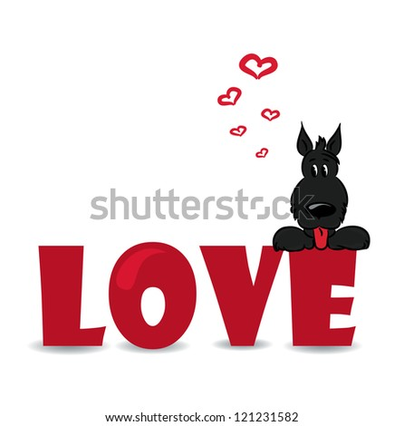 "Funny dog sitting on the red word ""love""-vector illustration - stock vector"