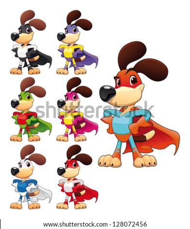 Funny dog super hero. Vector cartoon isolated characters - stock vector
