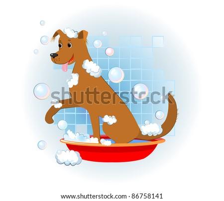 funny dog wash in bathroom - stock vector