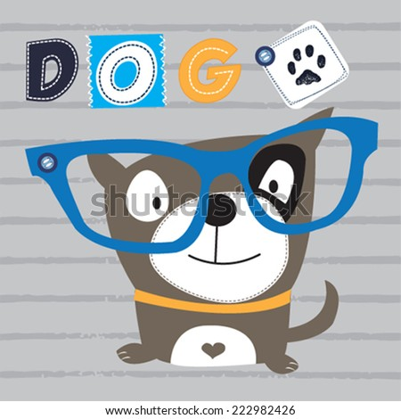 funny dog with glasses striped background vector illustration - stock vector