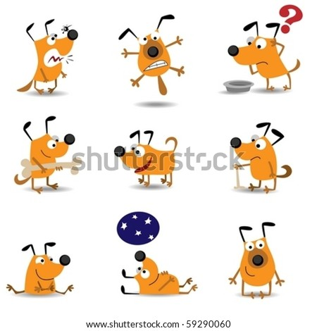 Funny dogs set - stock vector