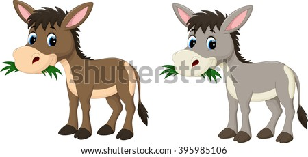 Funny donkey eating grass - stock vector