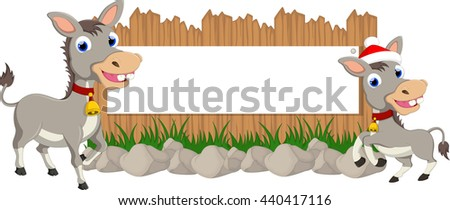 funny donkey with blank sign - stock vector