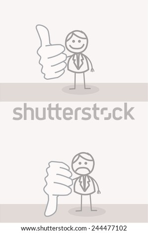 Funny Doodle : Business Man Thumb UP DOWN - stock vector