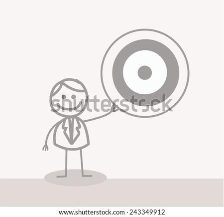 Funny Doodle : Businessman Showing Target - stock vector