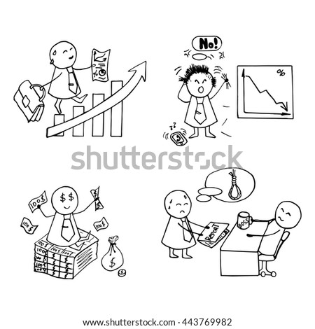 Funny doodle office workers icons. Vector business set.