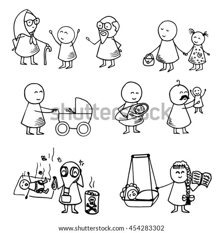 Funny doodle people icons. Family big vector set.