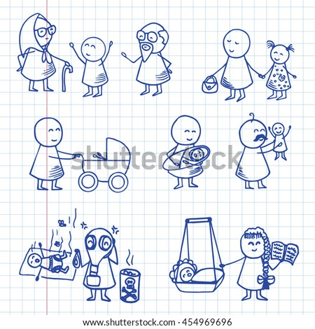 Funny doodle people icons. Family big vector set on graph paper.