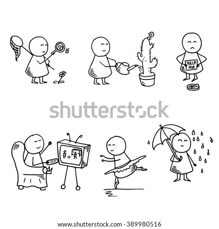 Funny doodle people icons. Vector set.