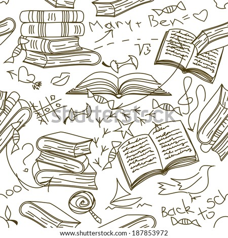 Funny doodle seamless pattern of books and children's scribbles