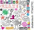 funny doodle set, hand drawn design elements - stock vector