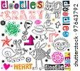 funny doodle set, hand drawn design elements - stock vector