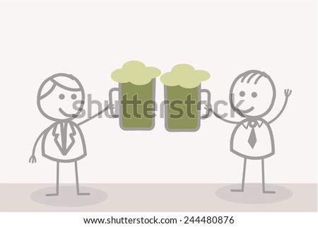 Funny Doodle : Toast Businessman - stock vector