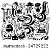 Funny doodles collection. Vector illustration. - stock photo