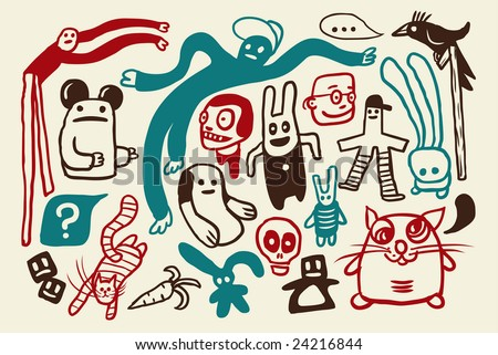 Funny doodles collection. Vector illustration.
