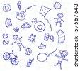 Funny doodles on a beach - stock vector