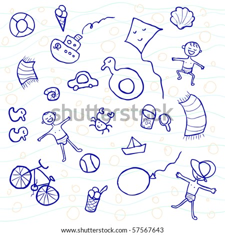 Funny doodles on a beach - stock vector