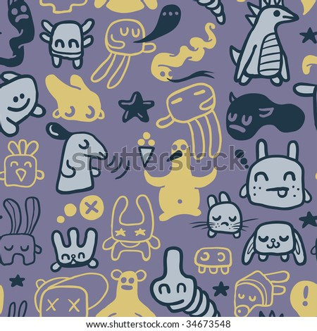 Funny doodles. Seamless pattern. Vector illustration. - stock vector