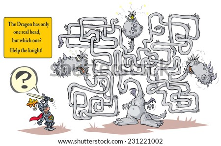 Funny Dragon Maze. - stock vector