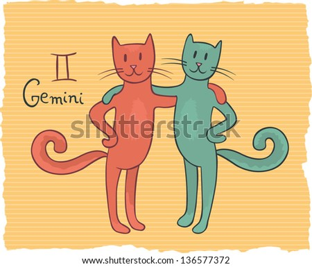 Funny drawing of a zodiac symbol - Gemini. One of a set. Vector illustration. - stock vector