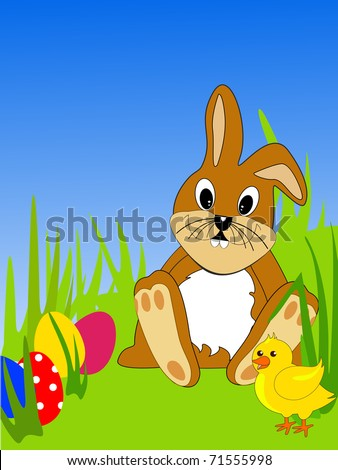 funny easter bunny - vector