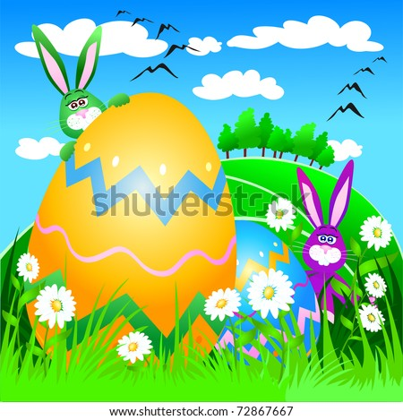 Funny Easter rabbits with egg and spring landscape, vector