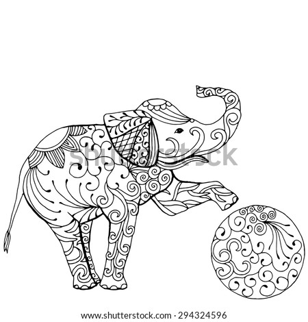 Funny elephant illustration playing with ball - stock vector