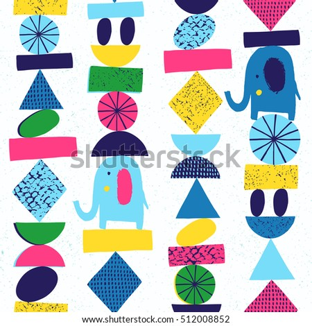 Funny elephant seamless with abstract geometric elements. Vector illustration. Kid cloth design, wallpaper, wrapping.