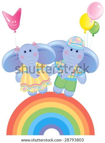 Funny elephants on rainbow. - stock vector