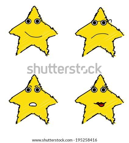 Funny emotional stars set - stock vector