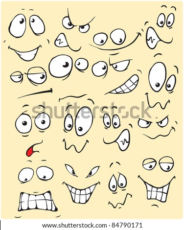 funny face in vector - stock vector