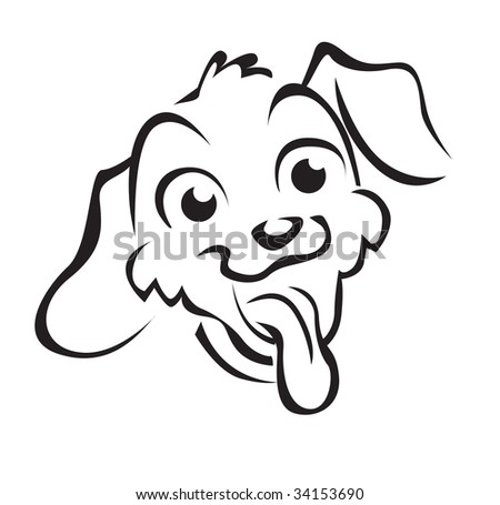 funny face of dog - stock vector