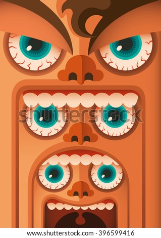 Funny faces concept. Vector illustration. - stock vector